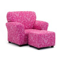 Candy Pink Club Chair and Ottoman Set - Small Paisley
