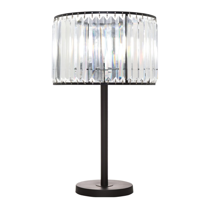 Matte Black Metal Table Lamp with Crystal Shade