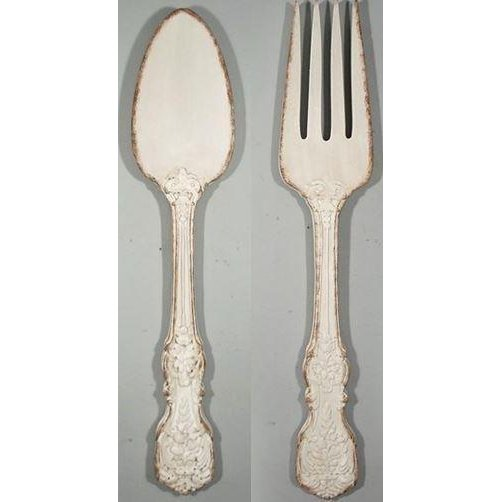 Superbe Distressed Fork And Spoon Wall Decor