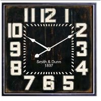 Black Metal Framed Square Clock