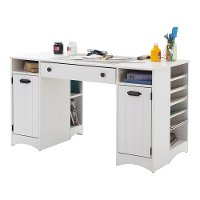 7260727 White Craft Table with Storage - Artwork