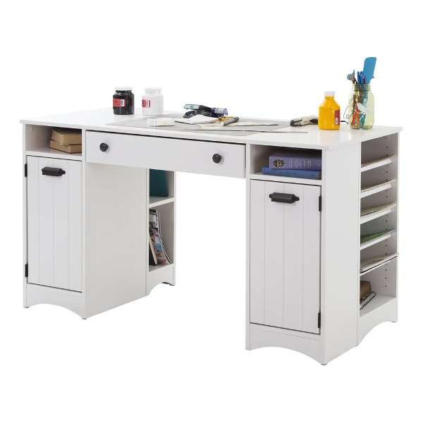 ... 7260727 White Craft Table With Storage   Artwork