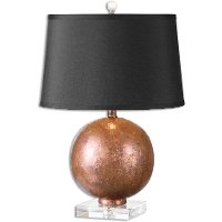 Copper Table Lamp with Crystal Foot