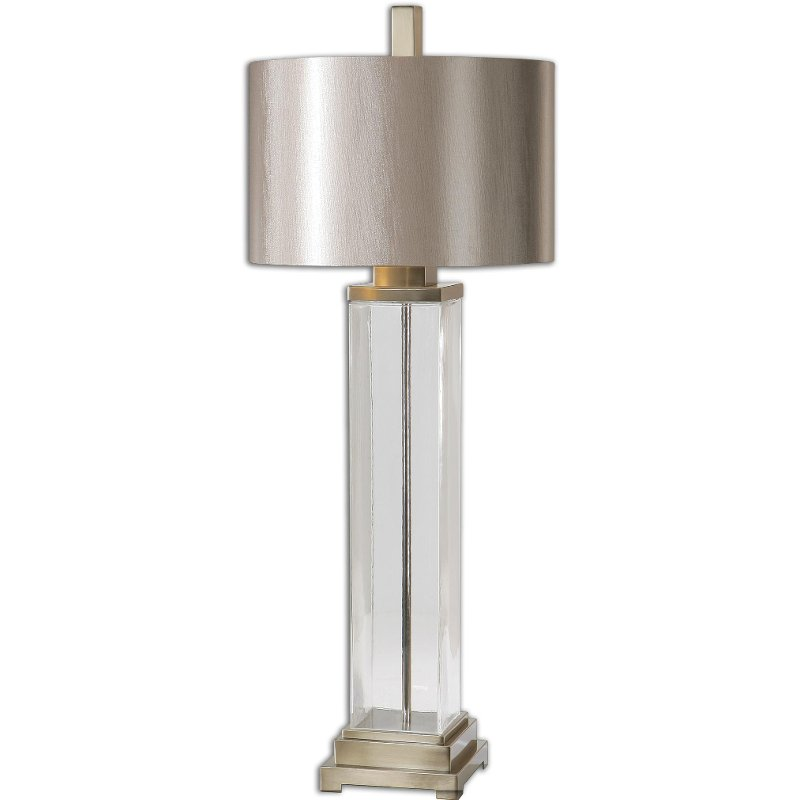 Clear Glass Table Lamp with Brushed Nickel Accents