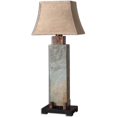 Tall Slate And Hammered Copper Table Lamp