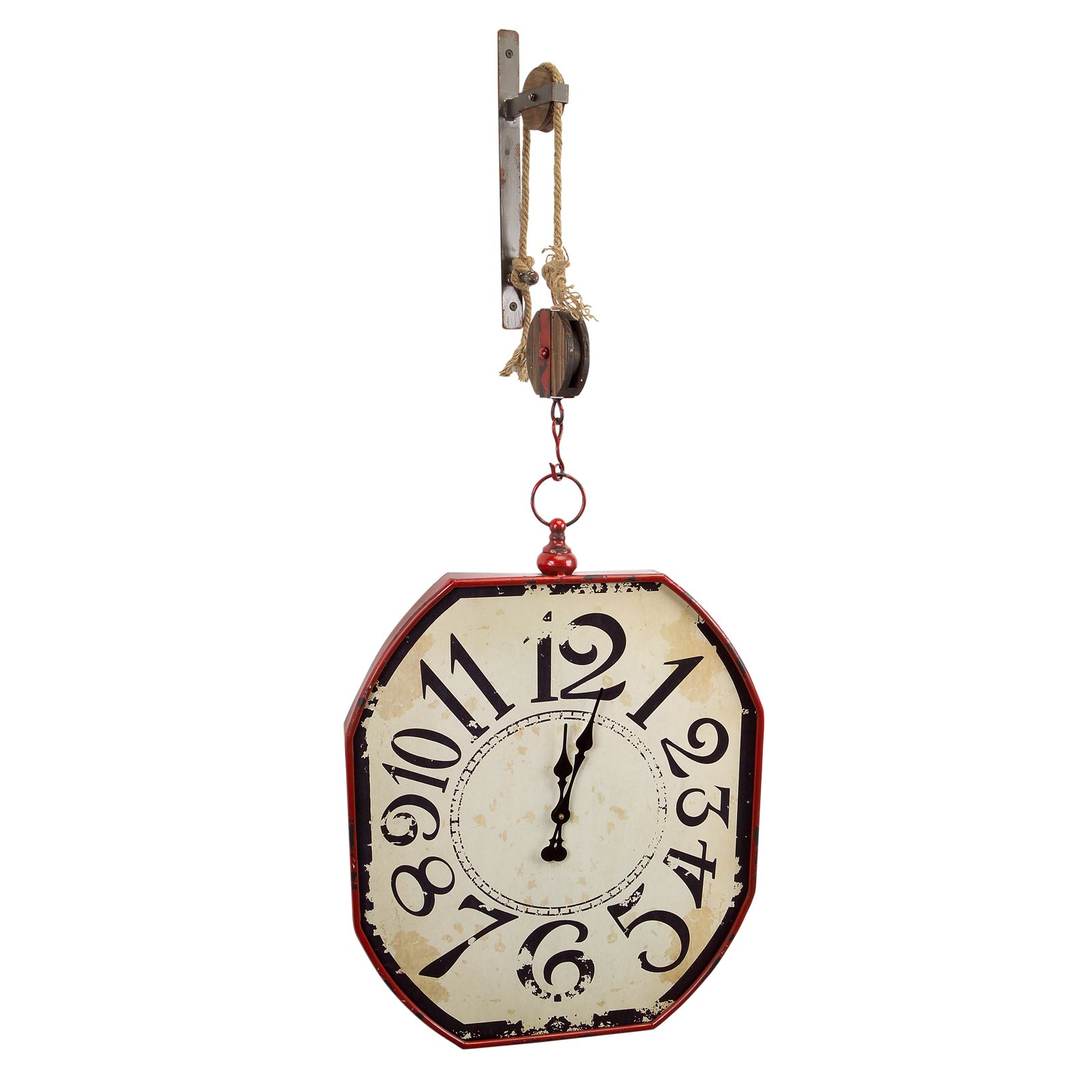 48 Inch Pulley Mounted Distressed Wall Clock RC Willey Furniture Store