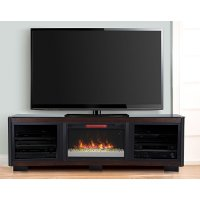 76 Inch Cocoa Brown Curved Fireplace and TV Stand