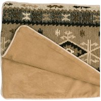 WD23292-QBEDSCARF Tan, Brown and Ivory Southwest Queen Bed Scarf - Mountain Storm