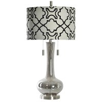 Plated Smoke Glass Table Lamp Rc Willey Furniture Store
