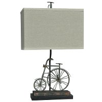 Big Wheel Rusted Blue Table Lamp