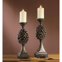 17 Inch Pine Bluff Resin Candle Holder