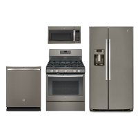 4PC-SLATE-SXS-GAS GE 4 Piece Gas Kitchen Appliance Package with Side by Side Refrigerator - Slate
