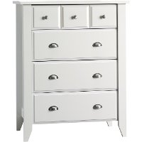 F0470246 Matte White 4-Drawer Chest - Relaxed Traditional