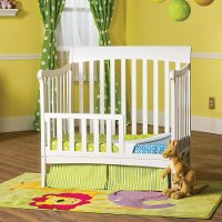 F0971446 Matte White Toddler Guard Rail for Mini Crib - Ashton