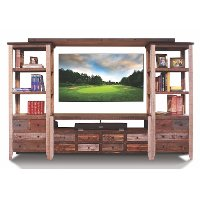 Rustic 4 Piece Red Pine Entertainment Center - Antique