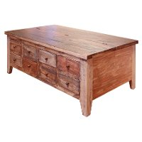 Rustic 8 Drawer Pine Lift Top Coffee Table - Antique