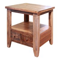Rustic Pine End Table - Antique