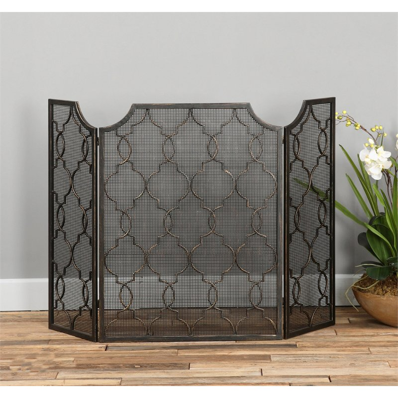 Silver-Champagne Metal Fireplace Screen