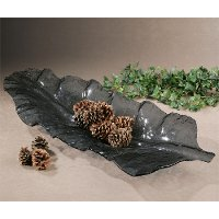 Dark Gray Curved Leaf Shaped Glass Tray