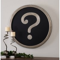 Black and Silver Round Question Mark Wall Decor