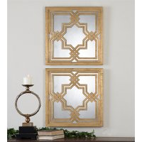 Assorted Gold Leaf Square Mirror