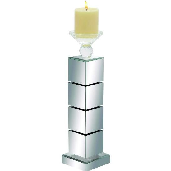 16 Inch Mirrored Candle Holder