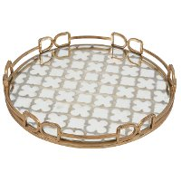 Round 16 Inch Mirrored Tray