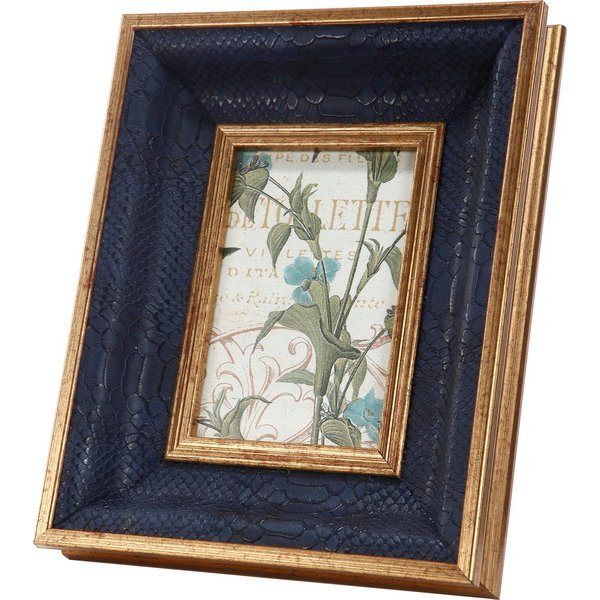 """This 8"""" x 10"""" blue picture frame is a unique conversation piece. The gold frame surrounds a concave textured blue matting that will bring your photo to life. The photo opening is 4"""" x 6""""."""