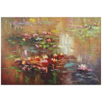 Multi Color Water Lily Canvas Wall Art