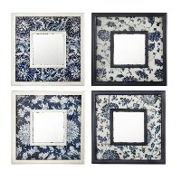 Assorted Navy and White Floral Square Mirror