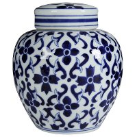 Cobalt Blue and White Jar with Lid