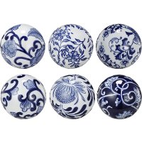Assorted 3 Inch Blue and White Decorative Ceramic Ball