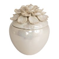 Cream Flower Ceramic Box
