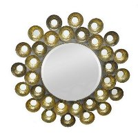 Gold Metal Circles Wall Mirror
