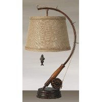 LPSW-112BURLAPSHADE Metal Fishing Table Lamp