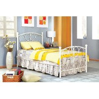 IDF-7706WH White Princess Twin Metal Bed - Belle