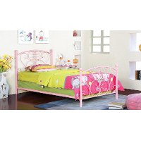 IDF-7706PK Pink Princess Twin Metal Bed - Belle
