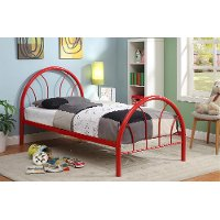 IDF-7712RD-T Red Metal Twin Bed - Clarkson