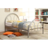 IDF-7712SV-T Silver Metal Twin Bed - Clarkson