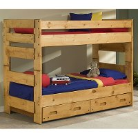 Cinnamon Rustic Pine Twin-over-Twin Bunk Bed with Drawers - Palomino