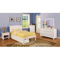 IDF-7902WH-T White Twin Platform Bed - Florence