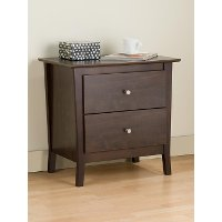 YNJ-02WNT Walnut 2-Drawer Nightstand - Heather