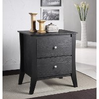 YNJ-02BLK Black 2-Drawer Nightstand - Heather
