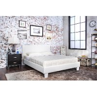 IDF-7008WH-Q White Leatherette Queen Platform Bed - Manhattan