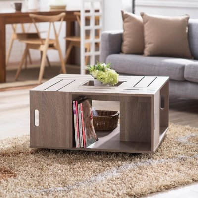 maylena weathered white crate coffee table | rc willey furniture store