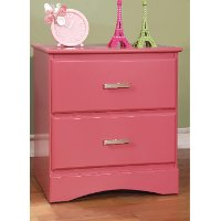 IDF-7941PK-N Pink Youth 2-Drawer Nightstand - Swanson