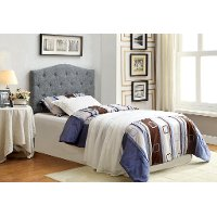 IDF-7989GY-HB-T Black & White Woven Upholstered Twin Headboard - Venice