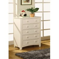 IDF-7905WH-C White 5-Drawer Chest of Drawers
