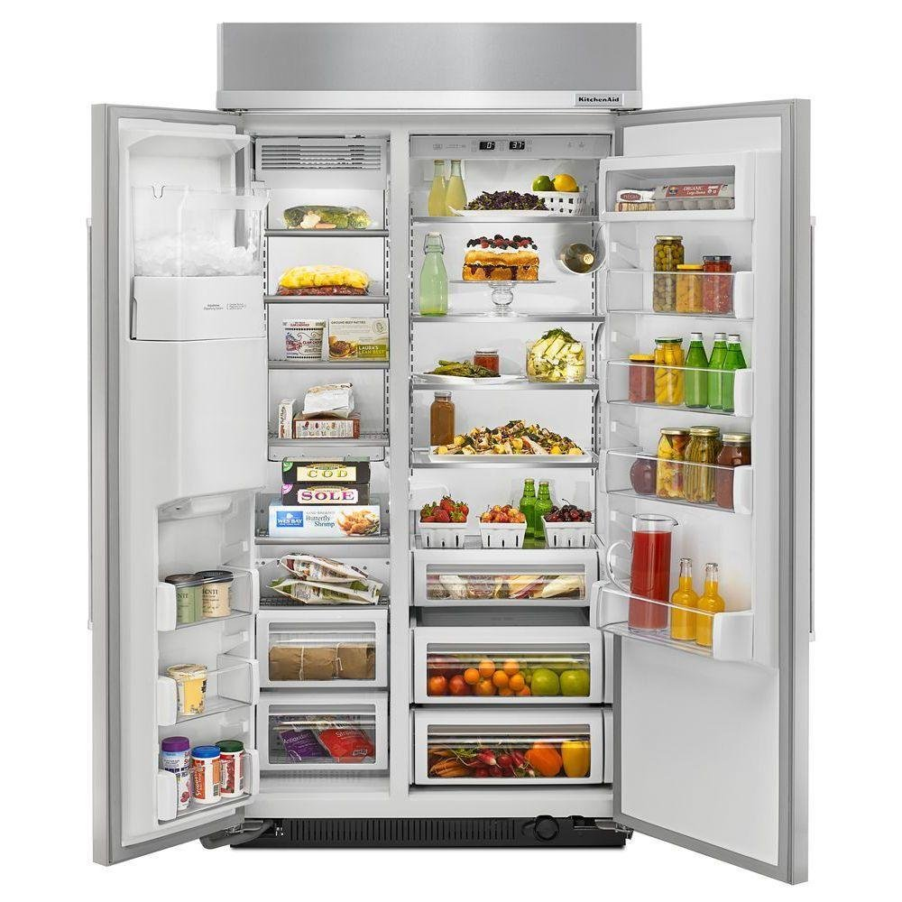 KitchenAid Side By Side Built In Refrigerator   42 Inch Stainless Steel |  RC Willey Furniture Store