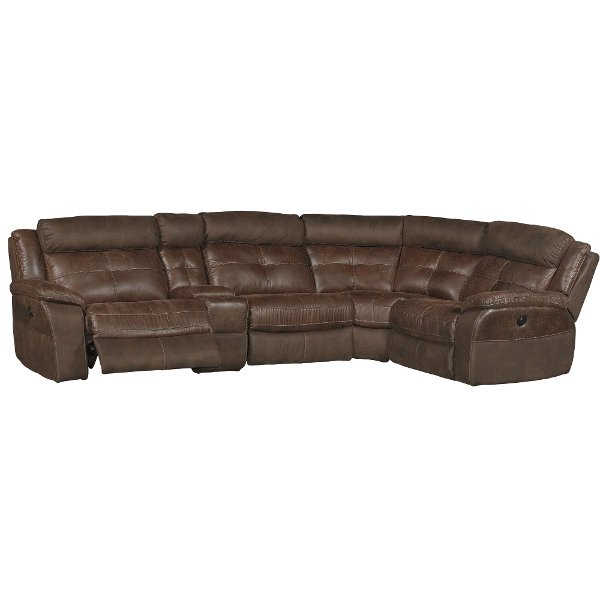 Brown 5 Piece Console Reclining Sectional Sofa Denver